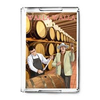 Walla Walla, Washington - Wine Barrels - Lantern Press Artwork (Acrylic Serving Tray)