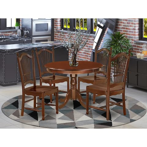 Round 42 Inch Table and Wood Seat Chairs in Mahogany Finish (Number of Chairs Option)