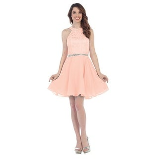 Chiffon Halter Dress Lace Bodi