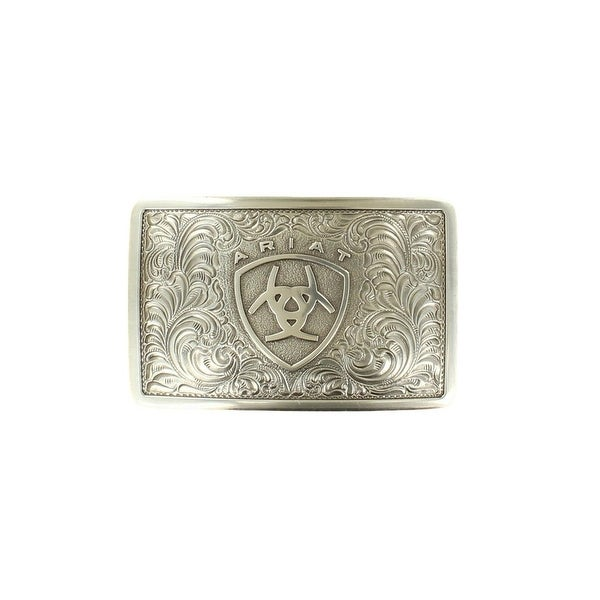 Ariat Western Buckle Rectangle Floral Filigree Logo Silver - 3 3/8 x 2 1/8