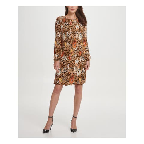 DKNY Brown Long Sleeve Above The Knee Dress 4