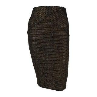BCX Juniors' Textured Metallic Pencil Skirt