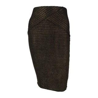 BCX Juniors' Textured Metallic Pencil Skirt - GOLD
