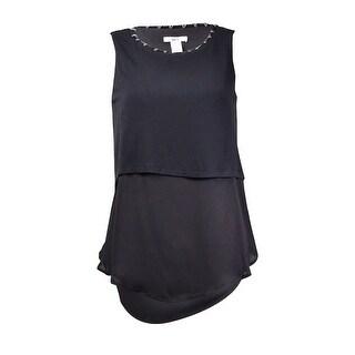 Bar III Women's Beaded-Trim Sleeveless Layered Crepe Knit Top - Deep Black - xs