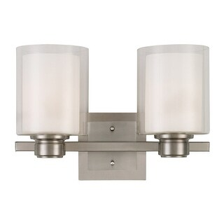 """Design House 556142 Oslo 2 Light 16"""" Wide Bathroom Vanity Light with a Clear Out - satin nickel"""