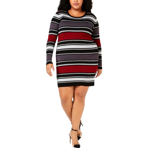 Planet Gold Womens Plus Sweaterdress Metallic Striped