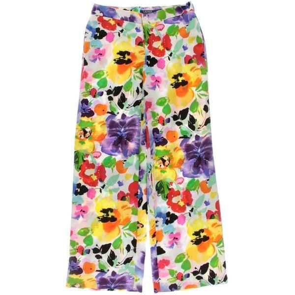 Lauren Ralph Lauren Womens 30MM Wide Leg Pant Wide Leg Pants Floral Print