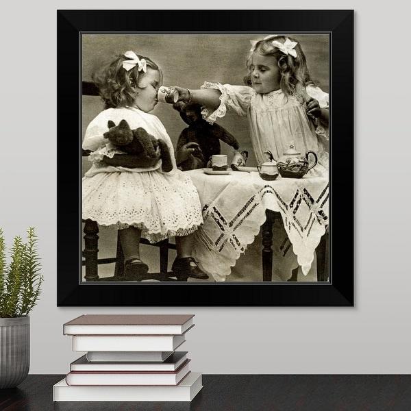 """Girls at tea party"" Black Framed Print"