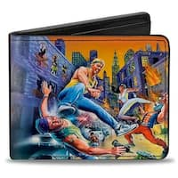 Sega Genesis Streets Of Rage 8 Bit Box Cover Street Fight Bi Fold Wallet - One Size Fits most