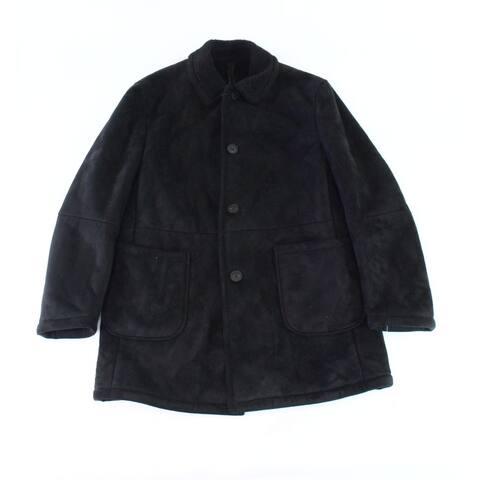 Lauren by Ralph Lauren Mens Jacket Black Size 40S Short Fleece-Lined