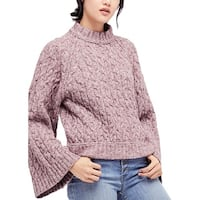 Free People Womens Turtleneck Sweater Snowbird Cable Knit