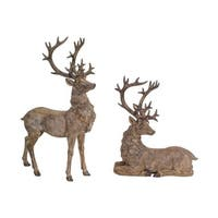 """Set Pack of 2 Wooden Brown Distressed Finish Deer Figurines Christmas Decorations 21"""""""