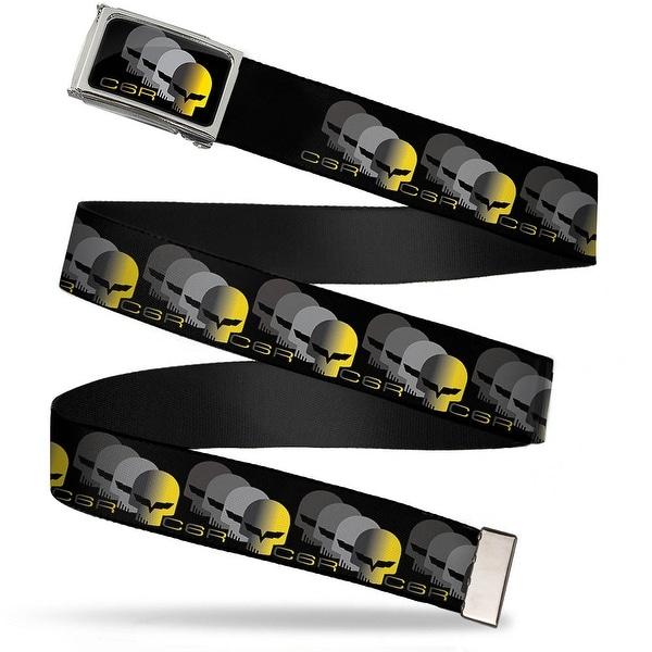 C6 Racing W Skull Repeat Fcg Black Yellow Silver Chrome C6 Racing W Web Belt