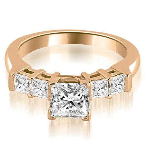 0.90 cttw. 14K Rose Gold Princess Cut Diamond Engagement Ring