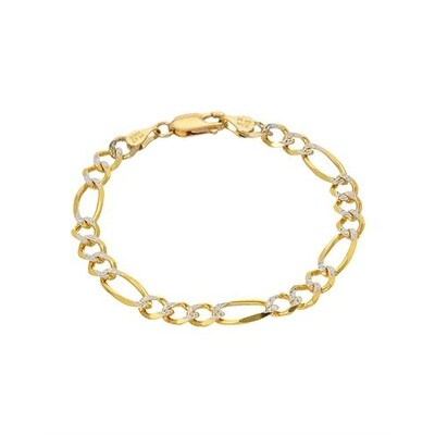 Mcs Jewelry Inc 14 KARAT TWO TONE, YELLOW GOLD WHITE GOLD FIGARO CHAIN BRACELET (6 INCHES) - Two-tone