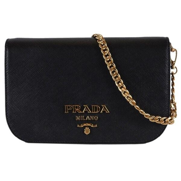 bcd487a3c1bd Prada 1BP013 Black Borsa Portafoglio Saffiano Lux Small Crossbody Purse Bag