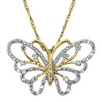 1/10 ct Diamond Butterfly Pendant in 14K Gold