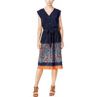 Tommy Hilfiger Womens Plus Shirtdress Printed Cap Sleeves