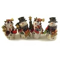 """Club Pack of 48 Folk Art Snowman Table Top Decorations 5"""" - WHITE"""