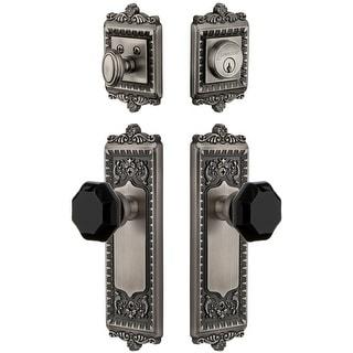 Grandeur WINLYO_SP_ESET_234  Windsor Solid Brass Rose Single Cylinder Keyed Entry Deadbolt and Knobset Combo Pack with Lyon
