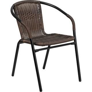Skovde Dark Brown Rattan Indoor/Outdoor/Patio/Bar Restaurant Stack Chair