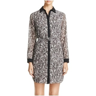 MICHAEL Michael Kors Womens Shirtdress Lace Print Contrast Trim