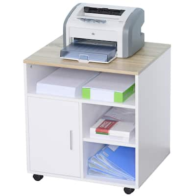 HOMCOM Printer Stand Multipurpose Moveable Filing Cabinet with Ample Inner Storage Space & 4 Easy-Rolling Wheels