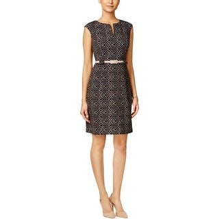 Connected Apparel Womens Petites Wear to Work Dress Printed Keyhole - 14P