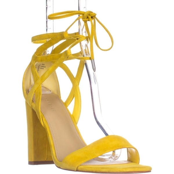Marc Fisher Fatima Lace-Up Block-Heel Sandals, Yellow Suede