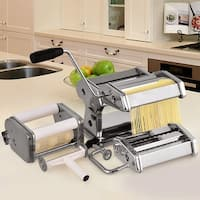 Costway 5 in 1 Stainless Steel Pasta Lasagna Spaghetti Tagliatelle Ravioli Maker Machine - Sliver