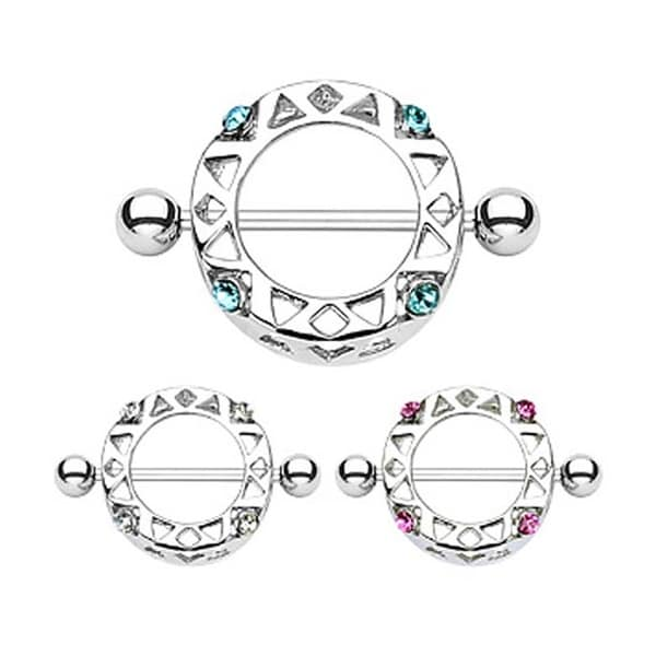 "Surgical Steel Nipple Ring Round Shield with Gem - 14GA 3/4"" Long (Sold Individually)"