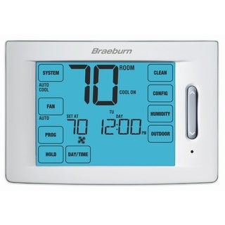 """Braeburn 6400 Touchscreen 5/2 Programmable Thermostat with 12"""" Square Inch Area Display and Humidification Control"""