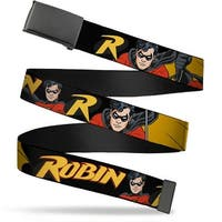 Blank Black Buckle Robin Red Black Poses Black Webbing Web Belt