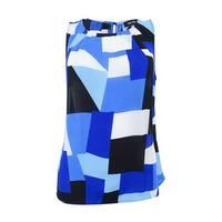 Nine West Women's Plus Size Printed Shell Shell Top - Royal/Black Multi