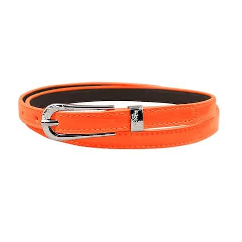 Women Single Pin Buckle Adjustable PU Waist Belt Pink