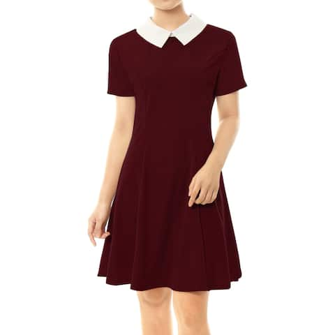 Women's Summer Short Sleeve Fit and Flare Dress w Doll Collar Red XL (US 18) - 18