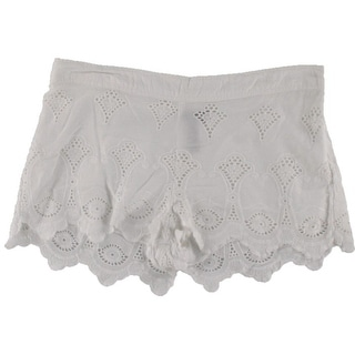 Aqua Womens Embroidered Sheer Casual Shorts - L