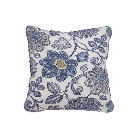 Fabric Wrapped Pillow with Floral Pattern, Set of 4, Blue and White - Blue, White