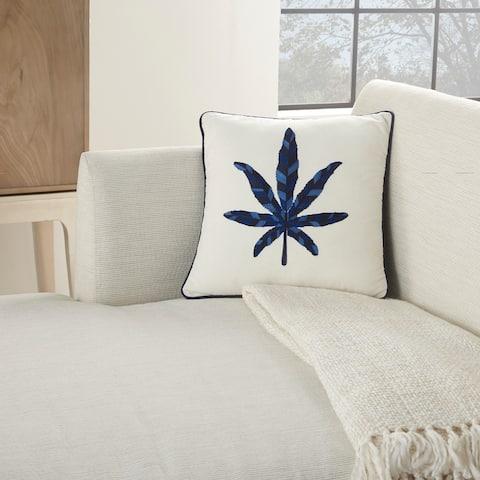 "Mina Victory Royal Palm Indigo Throw Pillow 16""X16"""