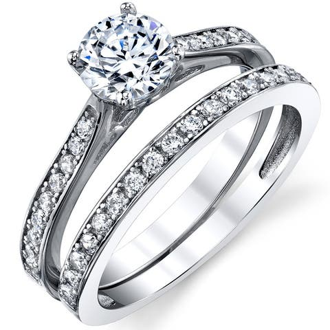 Oliveti Cubic Zirconia Wedding Band Engagement Ring Bridal Sets 925 Sterling Silver