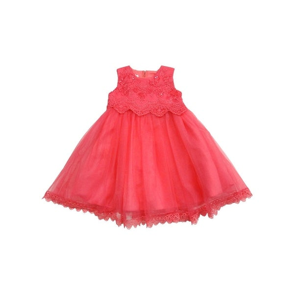 cb46bb9845bb7 Little Girls Coral Organza Stylish Embroidered Scalloped Flower Girl Dress