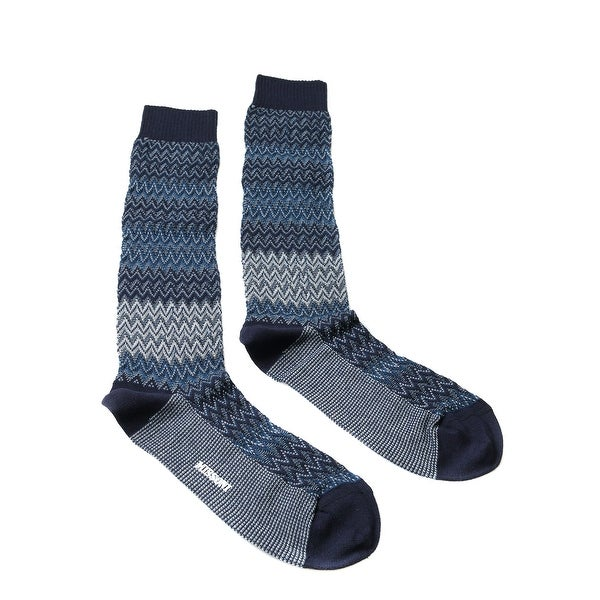 Missoni GM00CMU5683 0004 Blue/Gray Calf Length Socks