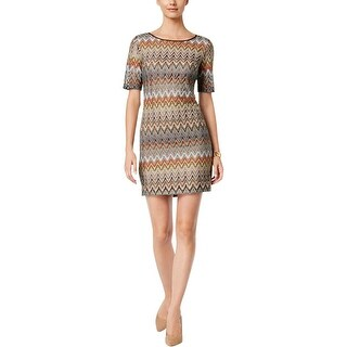 Jessica Howard Womens Petites Wear to Work Dress Chevron Printed