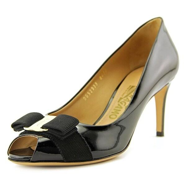 e51ced3ad6c16 Shop Salvatore Ferragamo Pola Women Peep-Toe Patent Leather Black ...