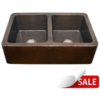 """Houzer HW-COP2 Hammerwerks 34-1/4"""" Double Basin Farmhouse Hammered Copper Kitchen Sink with Apron Front and 50/50 Split"""