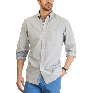 Nautica Long Sleeve Button-Down Oxford Shirt True Quarry Grey Large L