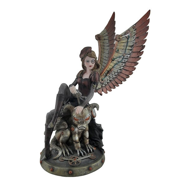 Steampunk Angel and Demon Dog Decorative Statue - 14.5 X 11 X 6 inches