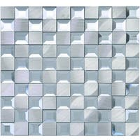 "TileGen. Crystal 1"" x 1"" Mirror Aluminum Mix Mosaic Tile in White/Silver Wall Tile (14 sheets/13.72sqft.)"