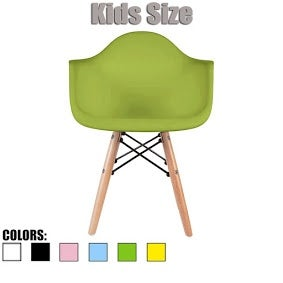 2xhome - Kids Size - Eames Style Armchair - Natural Wooden Legs - High Quality Childrens Chair - Kids Armchair