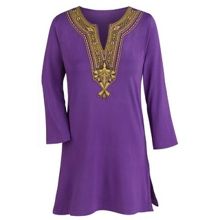 Women's Purple Tunic Top - Gold Embroidered Neckline 3/4 Sleeve Blouse